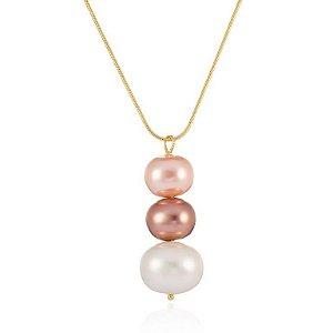 Pingente Essencial 99 Grande Ouro com Pérola Shell Color Rosé