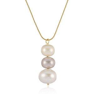 Pingente Essencial 99 Grande Ouro com Pérola Shell Color Branco