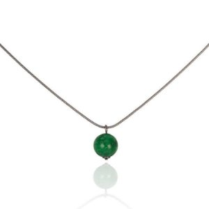 Pingente Essencial 80 Ródio Negro Quatzo Verde