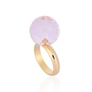 Anel Bubbles Ouro Blush Cristal