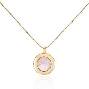 Pingente Essencial 56 Ouro Quartzo-Rosa