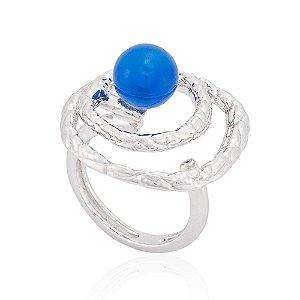 Anel 396 Ródio Ágata Azul