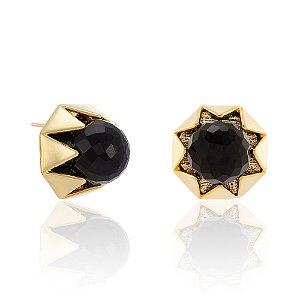 Brinco L'Atelier 883 Ouro Quartzo Negro