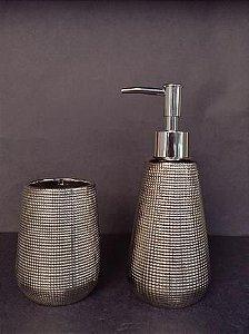 Conjunto de potes para bancada 02 peças prateado - Moas