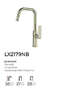 Misturador monocomando Bica móvel para Cozinha Aço Escovado LX2179NB - Lexxa