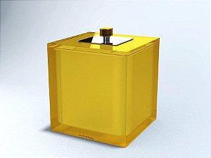 Lixeira Quadrada 5L c/ sobre - tampa inox decorada  Cubo - R. Szpilman - Várias Cores Disponíveis