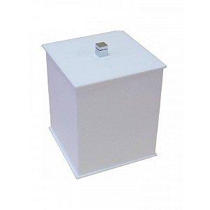 Lixeira quadrada Duo em acrilico Branco com puxador em metal - Decor Acrílicos
