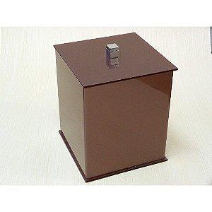 Lixeira quadrada Duo em acrilico com puxador em metal - Decor Acrílicos