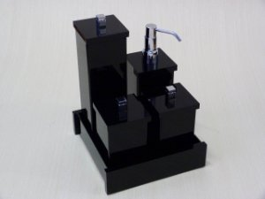 Conjunto de potes Duo com puxador em metal - 5 peças