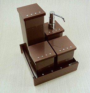 Conjunto de potes Decor com Strass 5 peças - Decor Acrílicos