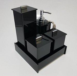 Conjunto de potes 05 peças Elegancy - preto