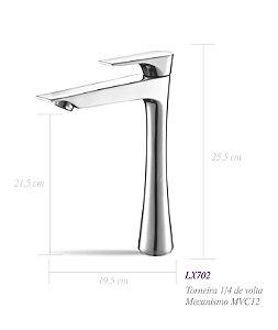 Torneira de bancada para lavatório bica alta LX702 - Lexxa