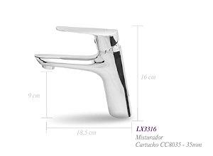 Misturador monocomando para lavatório LX3316 - Lexxa