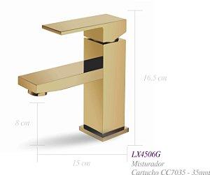 Misturador monocomando Dourado para lavatório - Lexxa