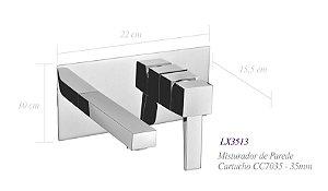 Misturador monocomando de parede para lavatório LX3513 - Lexxa