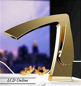 Misturador monocomando baixo dourado para lavatório LX7706G - Lexxa