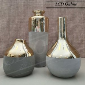Conjunto 03 vasos (dourado e cinza)