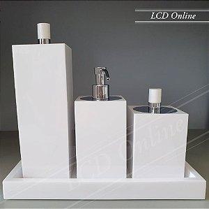 Conjunto de bancada luxo 4 peças  quadrado- resina