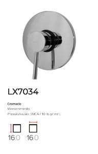 Registro Monocomando completo, base 3/4  LX7034 - Lexxa