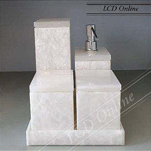 Conjunto  de bancada 05 peças pérola quadrado - acrílico
