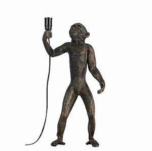 Escultura Abajour Macaco em pé Preto