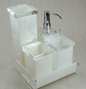 Conjunto de Potes Charme 05 peças em Acrílico Branco c/ tampa transparente - Decor Acrílicos