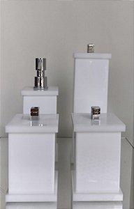 Conjunto de Potes 04 peças em Acrílico para Banheiro Branco - Decor Acrílicos