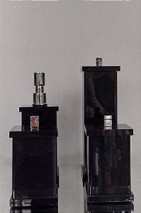 Conjunto de Potes 04 peças em Acrílico para Banheiro Preto - Decor Acrílicos