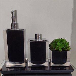 Conjunto de Potes 04 peças em Resina para Banheiro / Lavabo - preto