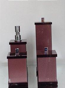 Conjunto de Potes 04 peças em Acrílico para Banheiro Marrom - Decor Acrílicos