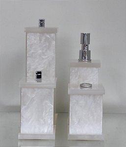 Conjunto de Potes 04 peças em Acrílico para Banheiro Pérola - Decor Acrílicos