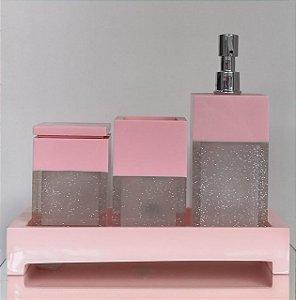 Conjunto de Potes 04 peças  em Resina para Banheiro Duo Rosa e Transparente Brilhante