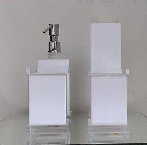 Conjunto de Potes Charme 04 peças em Acrílico Branco c/ tampa transparente - Decor Acrílicos