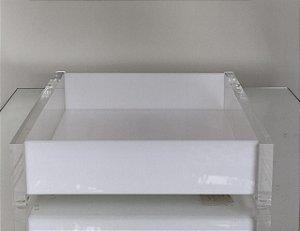 Bandeja Quadrada Charme Branca e transparente 18 x 18 - Décor Acrílico