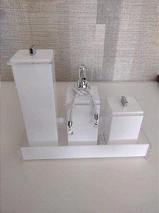 Conjunto de Potes em Acrílico para Banheiro 04 peças Branco Advance - Decor Acrílicos