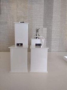 Conjunto de Potes para Banheiro 04 peças em Acrílico branco Elegancy - Decor Acrílicos