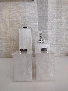 Conjunto de Potes para Banheiro 04 peças em Acrílico Pérola Elegancy - Decor Acrílicos