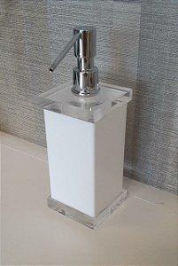 Saboneteira liquida Charme em acrílico Branco e transparente - Decor Acrílicos