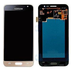 DISPLAY LCD SAMSUNG J3/J320 GALAXY J3 2016 COMPLETO PADRAO ORIGINAL DOURADO