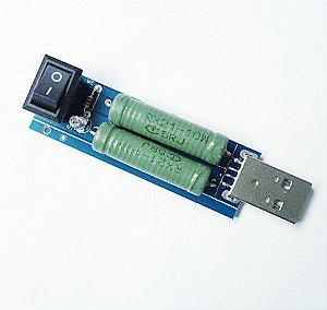 ADAPTADOR USB DE CARGA RESISTIVA COM LUZ LED E CHAVE LIGA/DESLIGA