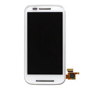 DISPLAY LCD MOTOROLA XT1022/XT1025 MOTO E COMPLETO COM ARO - BRANCO