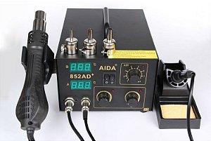 ESTAÇÃO DE SOLDA E RETRABALHO DIGITAL AIDA 852AD+ 220V / ESTAÇÃO 852AD+ 2X1 AR+FERRO ( 2 DISPLAY )