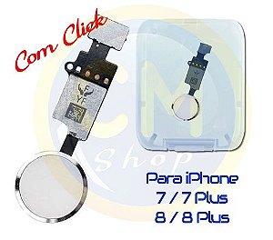 BOTÃO HOME iPHONE 7 / 7 PLUS / 8 / 8 PLUS (4.7) - BRANCO - COM CLICK