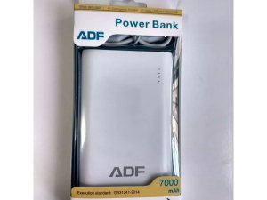 CARREGADOR PORTÁTIL POWER BANK ADF 7000mAh ORIGINAL - BRANCO