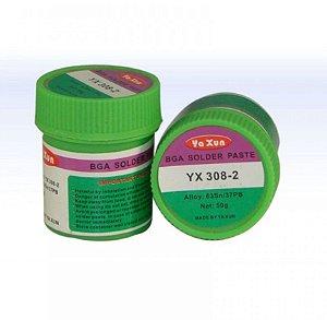 SOLDA EM PASTA YAXUN YX-308-2 ( SN63/PB37 ) 50 GRAMAS - POTINHO 50G YX308 2