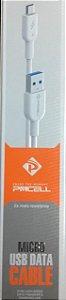 CABO DE DADOS MICRO USB PM CELL 1 METRO BRANCO / CABO 1 METRO MICRO USB SAMSUNG LG MOTORLA NOKIA SONY