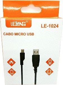 CABO MICRO USB (V8) DADOS E CARREGAMENTO LELONG LE-1024 - 1 METRO