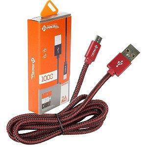 CABO DADOS / CARGA MICRO USB (V8) PMCELL CROMO - 1 METROS - VERMELHO