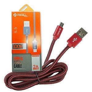 CABO DADOS / CARGA MICRO USB TIPO C PMCELL CROMO - 1 METROS - VERMELHO