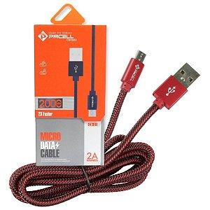 CABO DADOS / CARGA  MICRO USB (V8) PMCELL CB21 - 2 METROS - VERMELHO